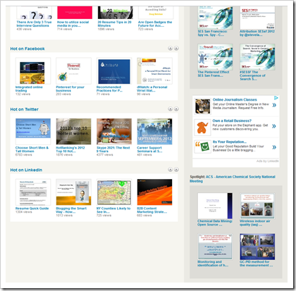 Slideshare homepage August 29, 2012